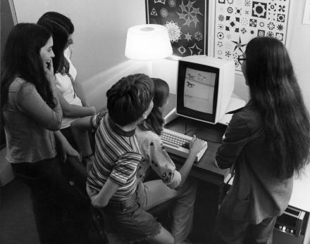 Kids playing with a prototype of the Xerox Alto