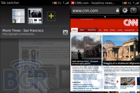 BlackBerry OS 6.0 - Neuer Browser mit Tabs